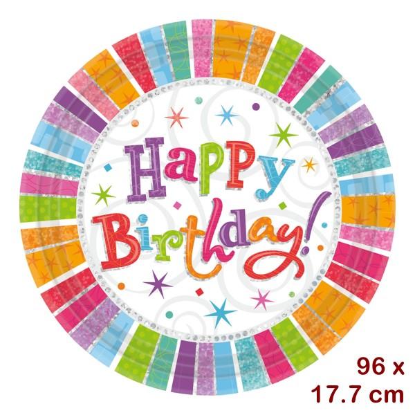12 x 8 Pappteller Happy Birthday, 17.7cm