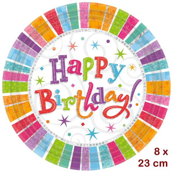 8 Kartonteller Happy Birthday, d 23 cm