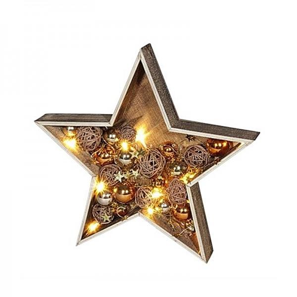 Deko 28cm Stern aus Holz mit LED Licht