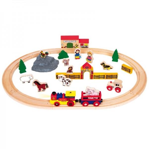Chemin de fer en bois, -Ferme-, Lot 40pc