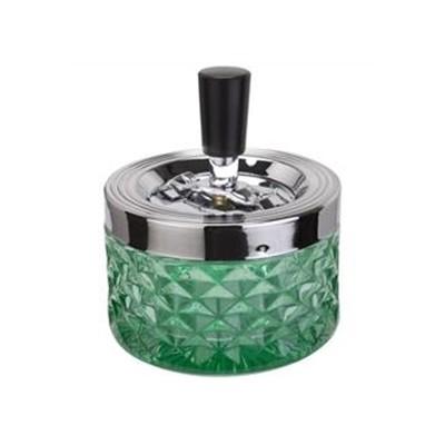 Drehaschenbecher aus Glas, grün