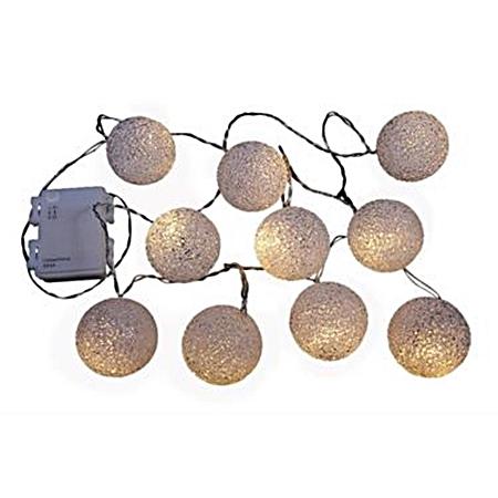 Lichterkette, Lichtgirlande Outdoor, 10 LED Kugeln, Timer, EVA-Ball Leuchtkette,10 LED Kugeln,Timer