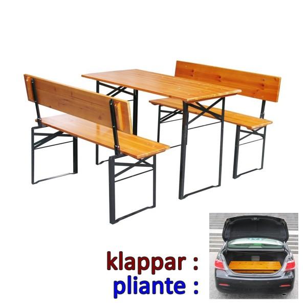 Ensemble table et bancs avec dossier