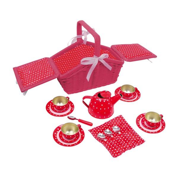 Kinder Picknickkorb Rot mit Herzen