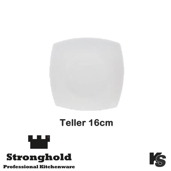 Eckige Gastro- Teller 16cm, Porzellan