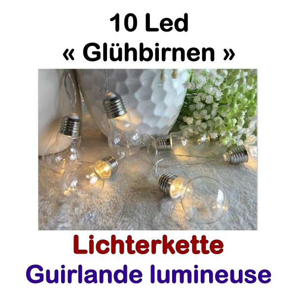 Lichterkette 10 Led Glühbirnen Klassisch
