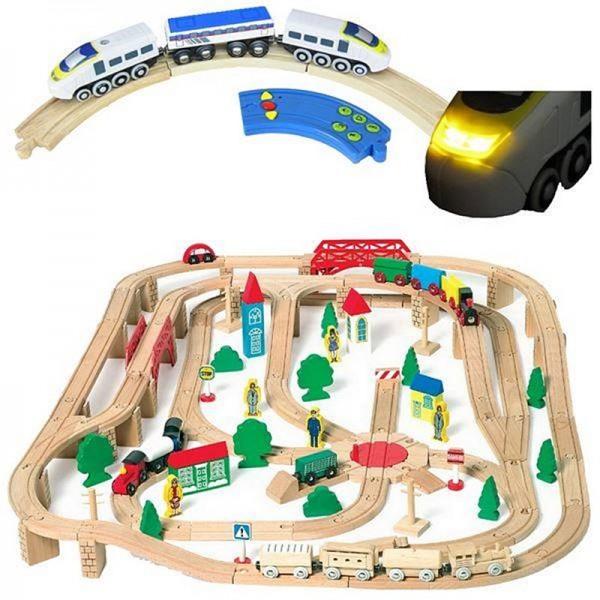 Riesen Holzeisenbahn Set mit El. Lok