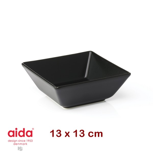 aida QSB plat creux noir carré 13 cm