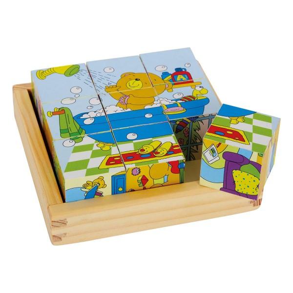 Würfel Puzzle -Bär Bruno-, aus Holz