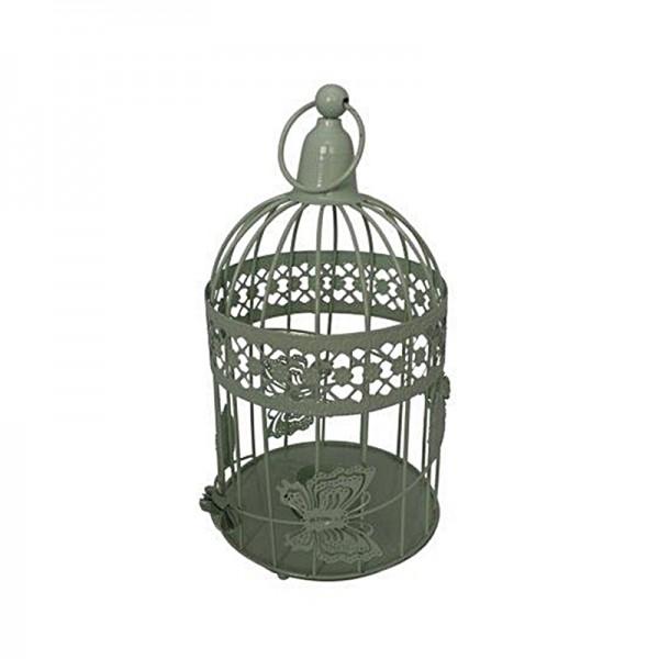 Cage à oiseaux décoration vert, en métal