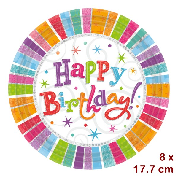 8 assiette en carton Happy Birthday 18cm