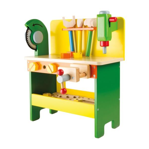 Kinder Werkbank aus Holz mit Werkzeug