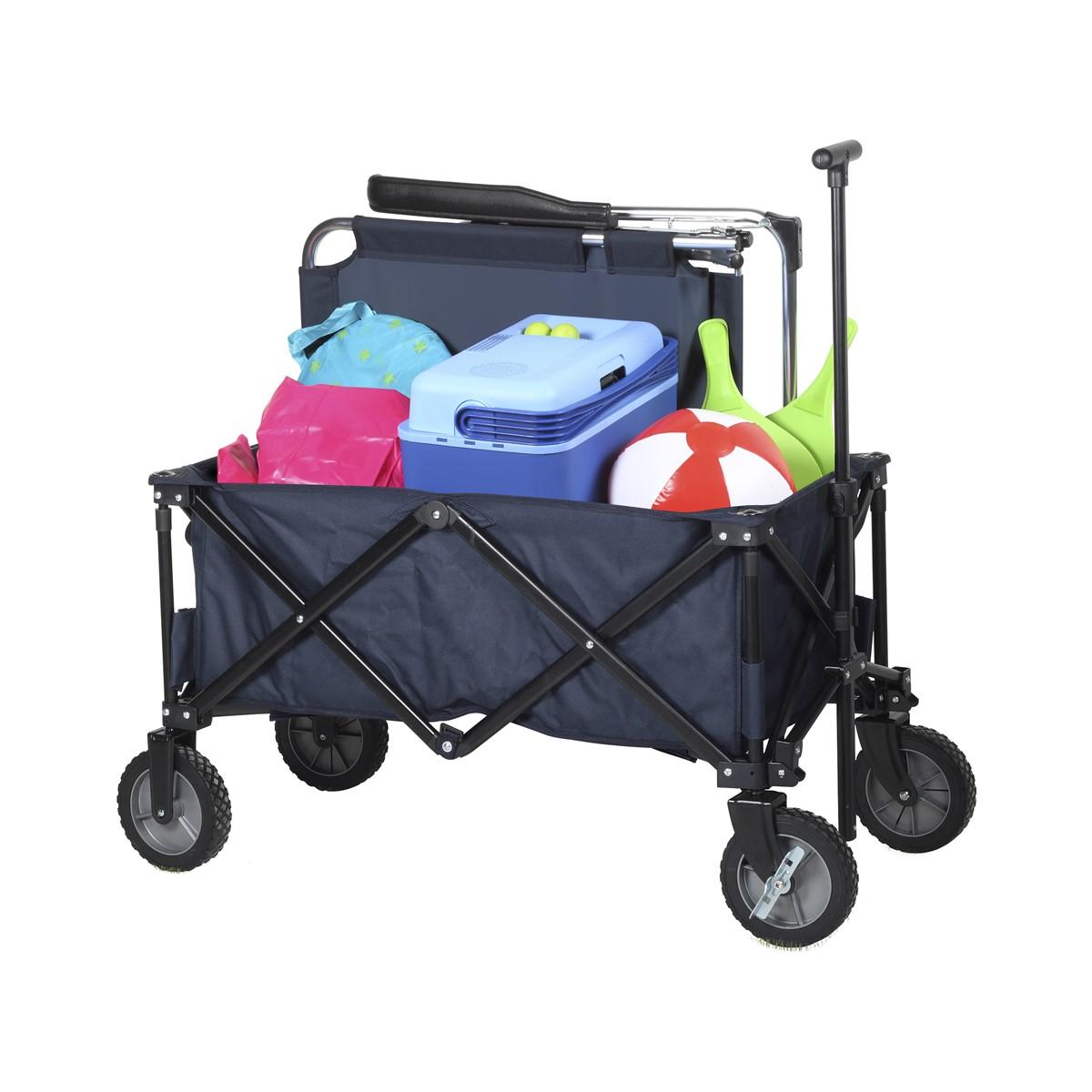 Bollerwagen, Trolley, Leiterwagen, Gepäckwagen Faltbar, Blau, Bollerwagen faltbar, mit Bremse, Blau