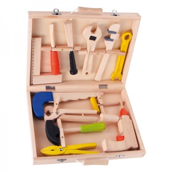 Kinder Profi Holz-Werkzeug-Koffer Lino