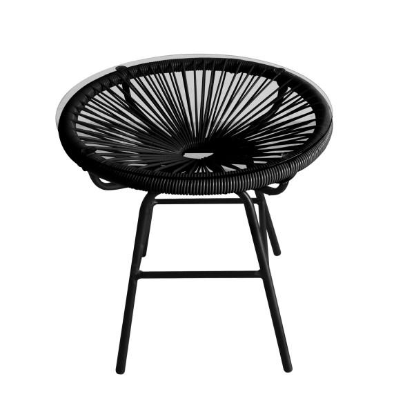 Bistrotisch schwarz rund mit Glasplatte
