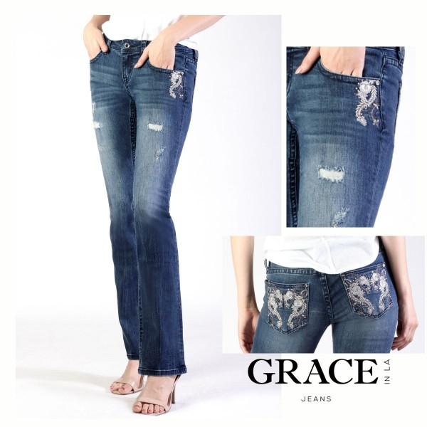 EasyFit Bootcut Jeans Sliver Floral