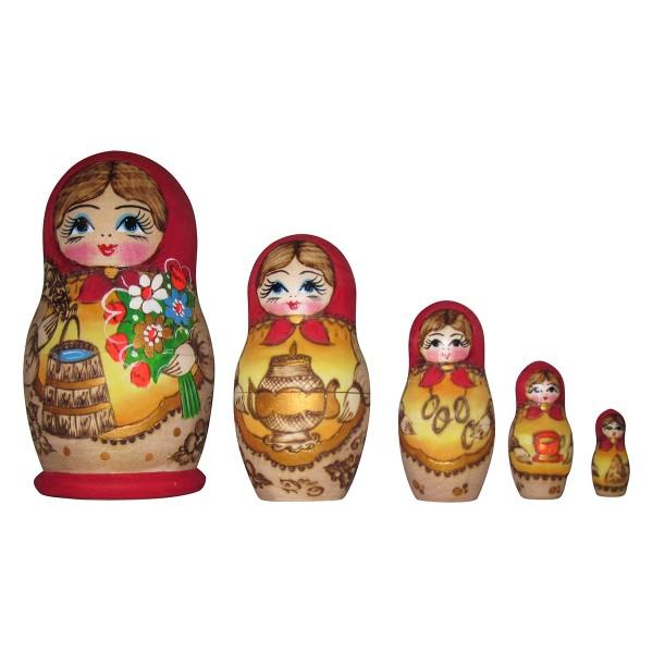 Babuschka Puppe 5tlg 15cm (Matrjoschka)