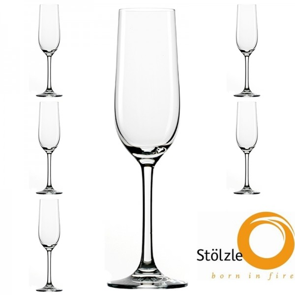 Glas, CLL, 6x Sektkelch, Sektglas, 190