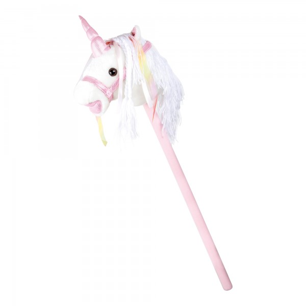 Cheval sur bâton « Licorne blanche rose»