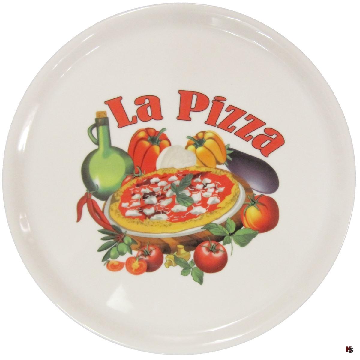 Pizza Teller 31cm, Porzellan Pizzateller mit Motiv La Pizza, Pizzateller -La Pizza- von Saturnia,31cm