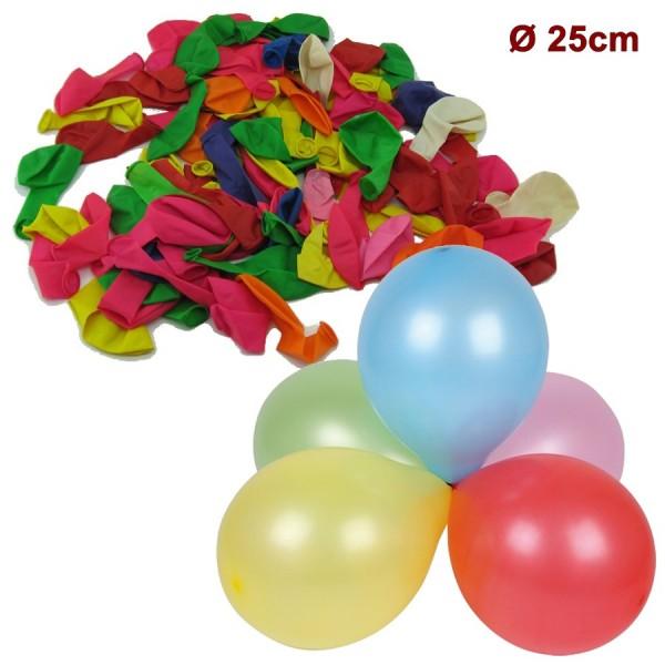 Ballon, 100Stk Luftballon 25cm, bunt Mix