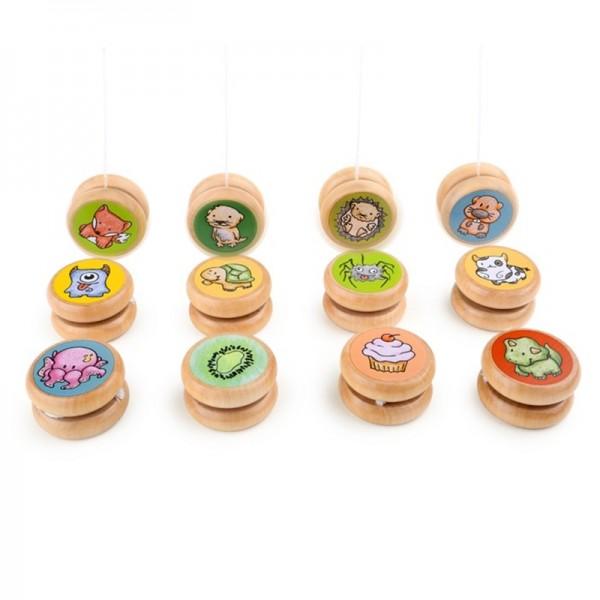 Yoyo, yo-yo, en bois, dessins d´animaux