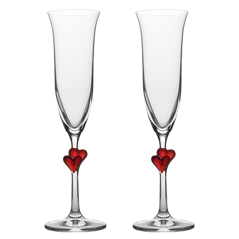 Sektkelch, Champagnerkelch L'Amour mit Herzen Rot, Set 2Stk., 2Stk. Champagnergläser mit Herzen, rot