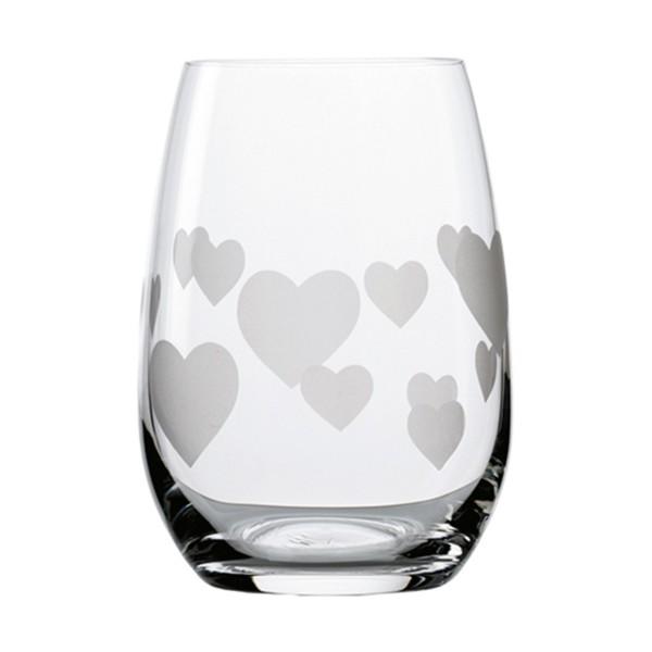 Trinkglas (Becher) mit Herzen satiniert