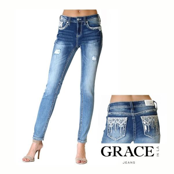EasyFit Skinny Jeans Western Aztec