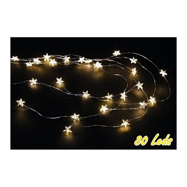 Lichterkette 80 Led mit Sternen, L 160cm