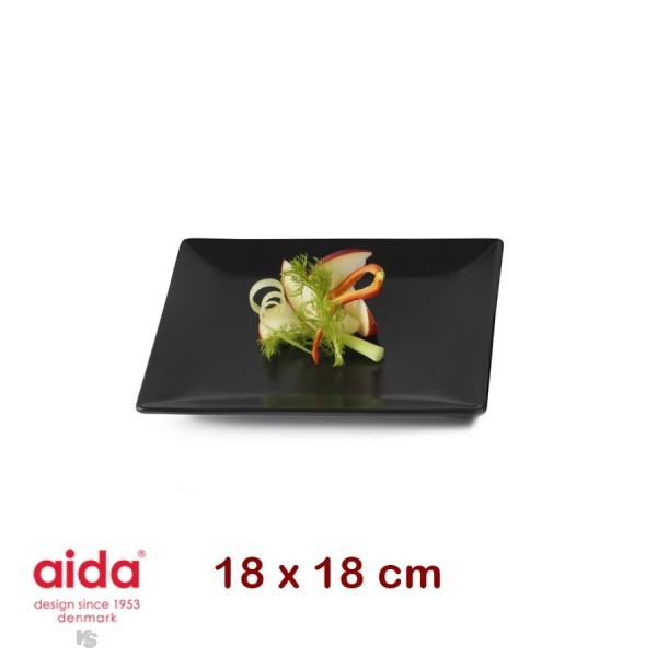 aida QSB Teller schwarz quadratisch 18cm
