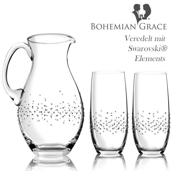 Karaffe mit 2 Gläser, Bohemian Grace S