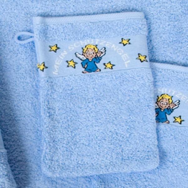 ANGE gardien,gant de toilette 16x21,bleu