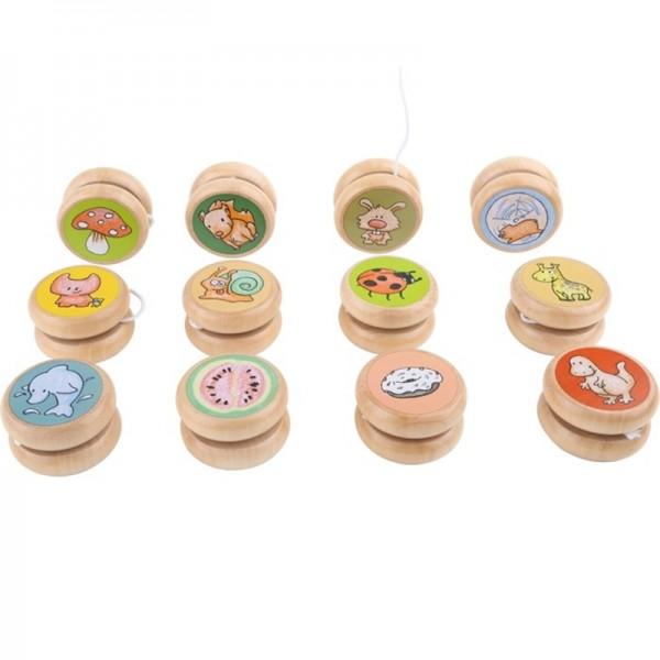 Yoyo, yo-yo, en bois, Lot avec 4pcs