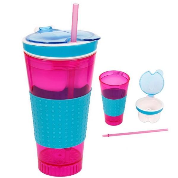 Snacky M. -Drink-Snack-Becher, PINK-Blau