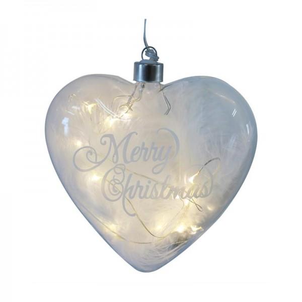 Herz Hänger aus Glas mit LED, d= 15cm