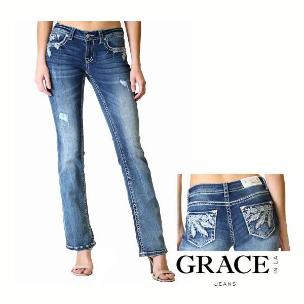 JuniorFit Bootcut Jeans Sliver Floral