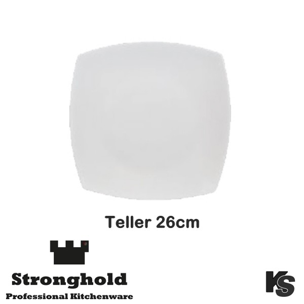 Eckige Gastro- Teller 26cm, Porzellan
