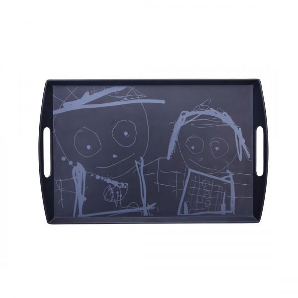 Tablett schwarz eckig 53x35cm von Aida