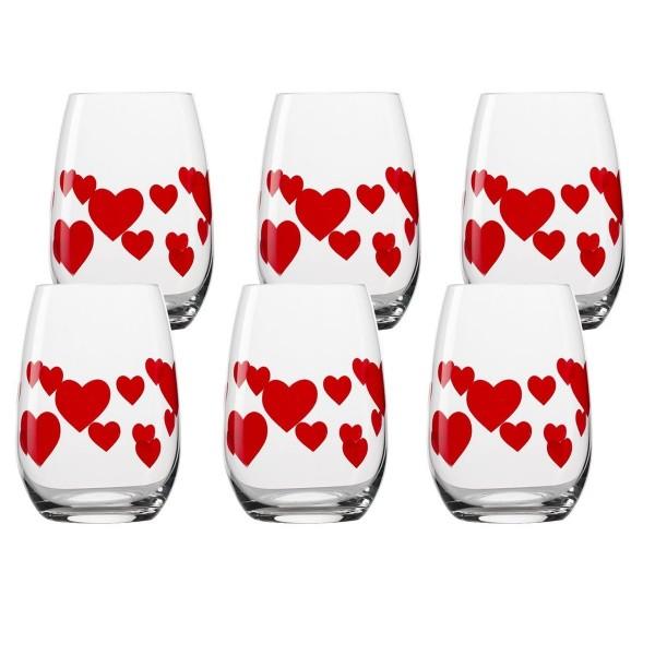 6Stk. Trinkgläser mit roten Herzen