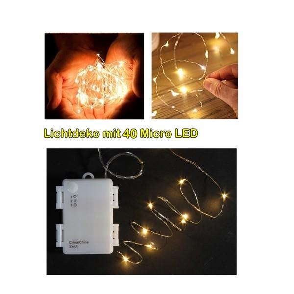 Leuchtdraht 40 Micro LEDs, Timer