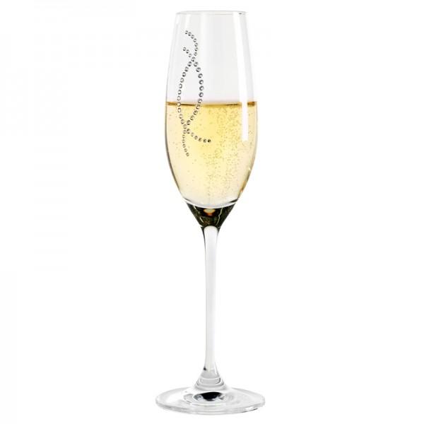 Verre à champagne, éléments Swarovski