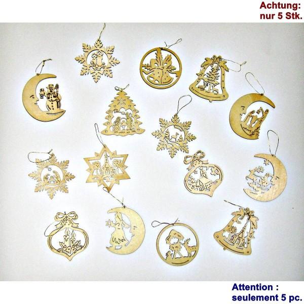 Weihnachtsschmuck, Set 5Stk Holzanhänger