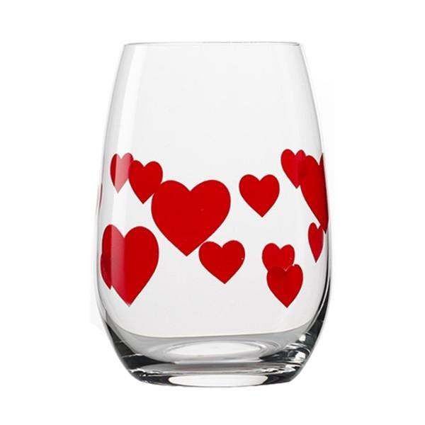 Trinkglas (Becher) mit roten Herzen
