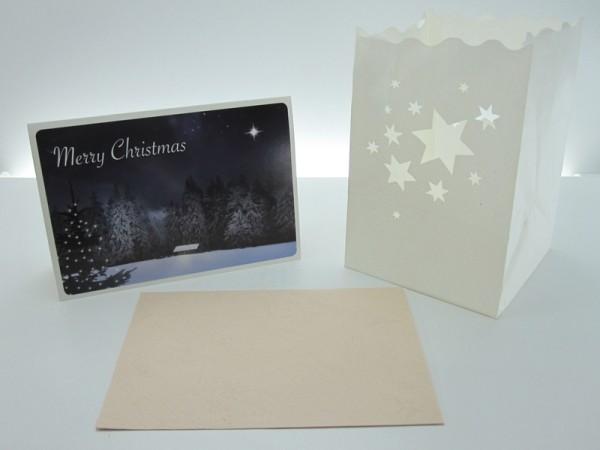 Carte de vœux, lumière decorative Merry