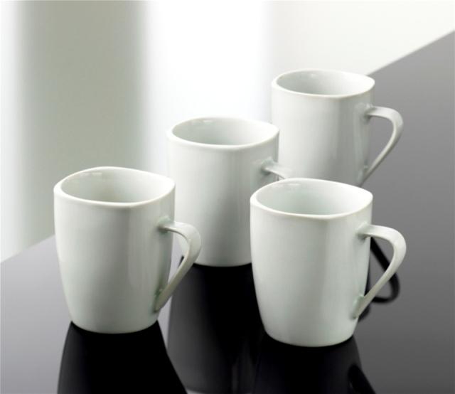 Geschirr BISTRO SQUARE WH 4Stk. Mugs (grosse Tassen), BISTRO SQUARE WH 4Stk. Mugs grosse Tasse