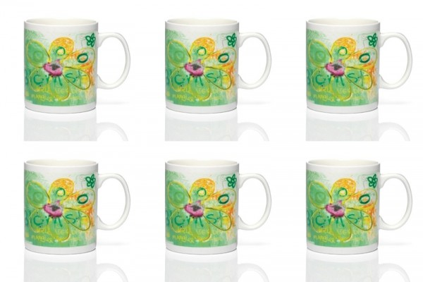 PAVA more flowers-green 6pc mug