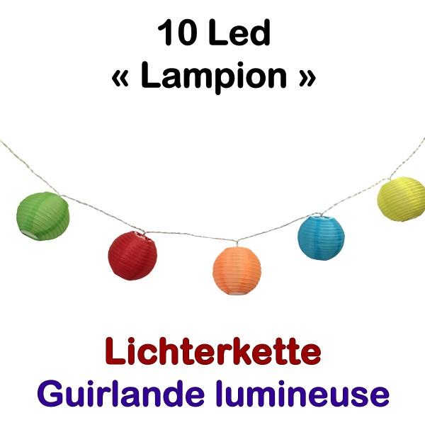 Lichterkette 10 Led Lampions Bunt
