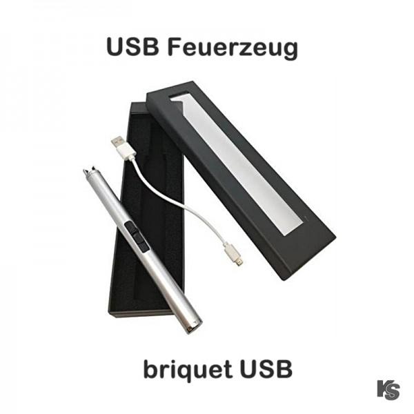 USB Stabfeuerzeug silber in Geschenkbox