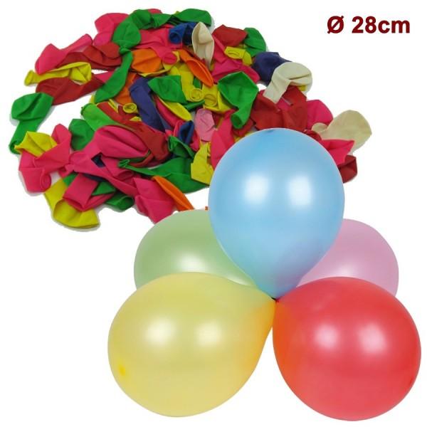 Ballon, 100Stk Luftballon 28cm, bunt Mix
